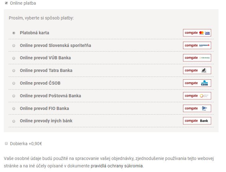 Ako nakupovať - Výber platby