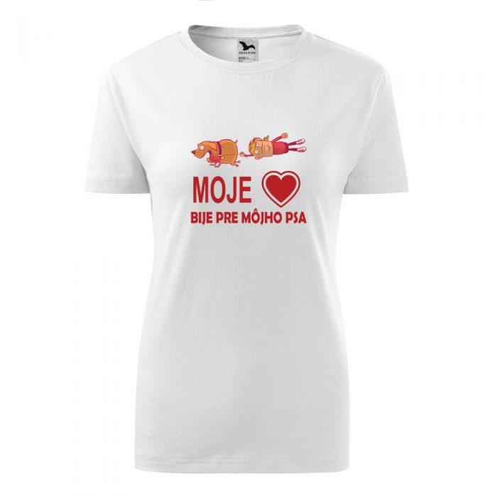 dámske tričko s potlačou Moje srdce bije pre môjho psa