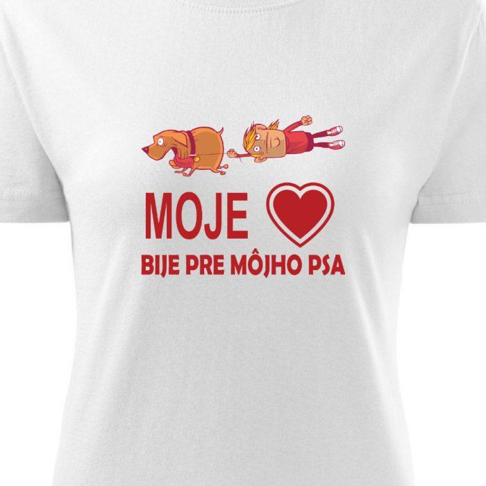 dámske tričko s potlačou Moje srdce bije pre môjho psa - detail