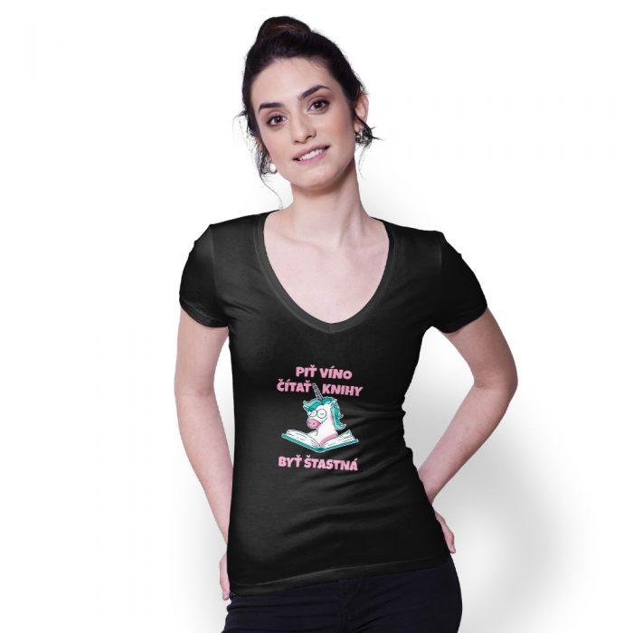 Dámske tričko UNICORN VÍNO na modelke