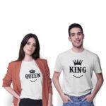 Tričká pre páry KING QUEEN KORUNA na modeloch