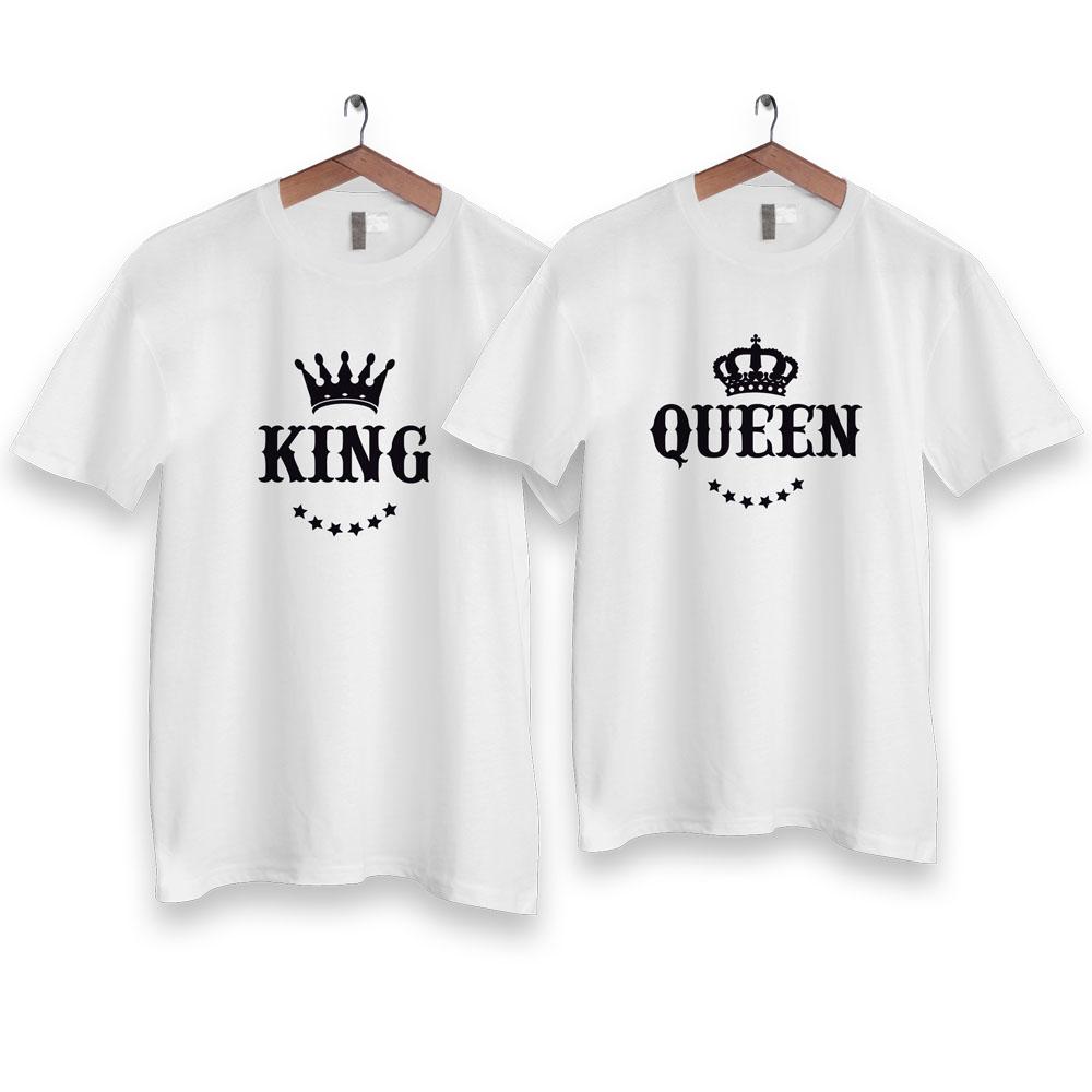 Tričká pre páry KING QUEEN KORUNA na vešiaku