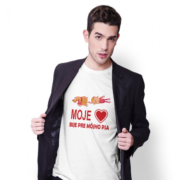 pánske tričko s potlačou Moje srdce bije pre môjho psa - model