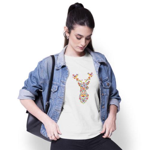 Dámske tričko Jeleň Folk modelka