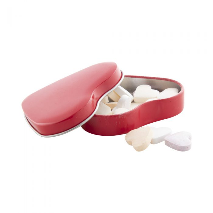 červená krabička s cukríkmi HEARTIES