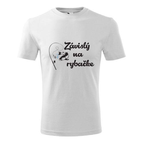 pánske tričko s potlačou ZÁVISLÝ NA RYBAČKE