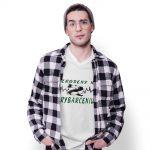 tričko s potlačou – biele – ZRODENÝ K RYBÁRČENIU