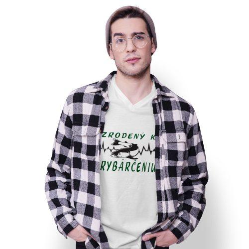 tričko s potlačou - biele - ZRODENÝ K RYBÁRČENIU