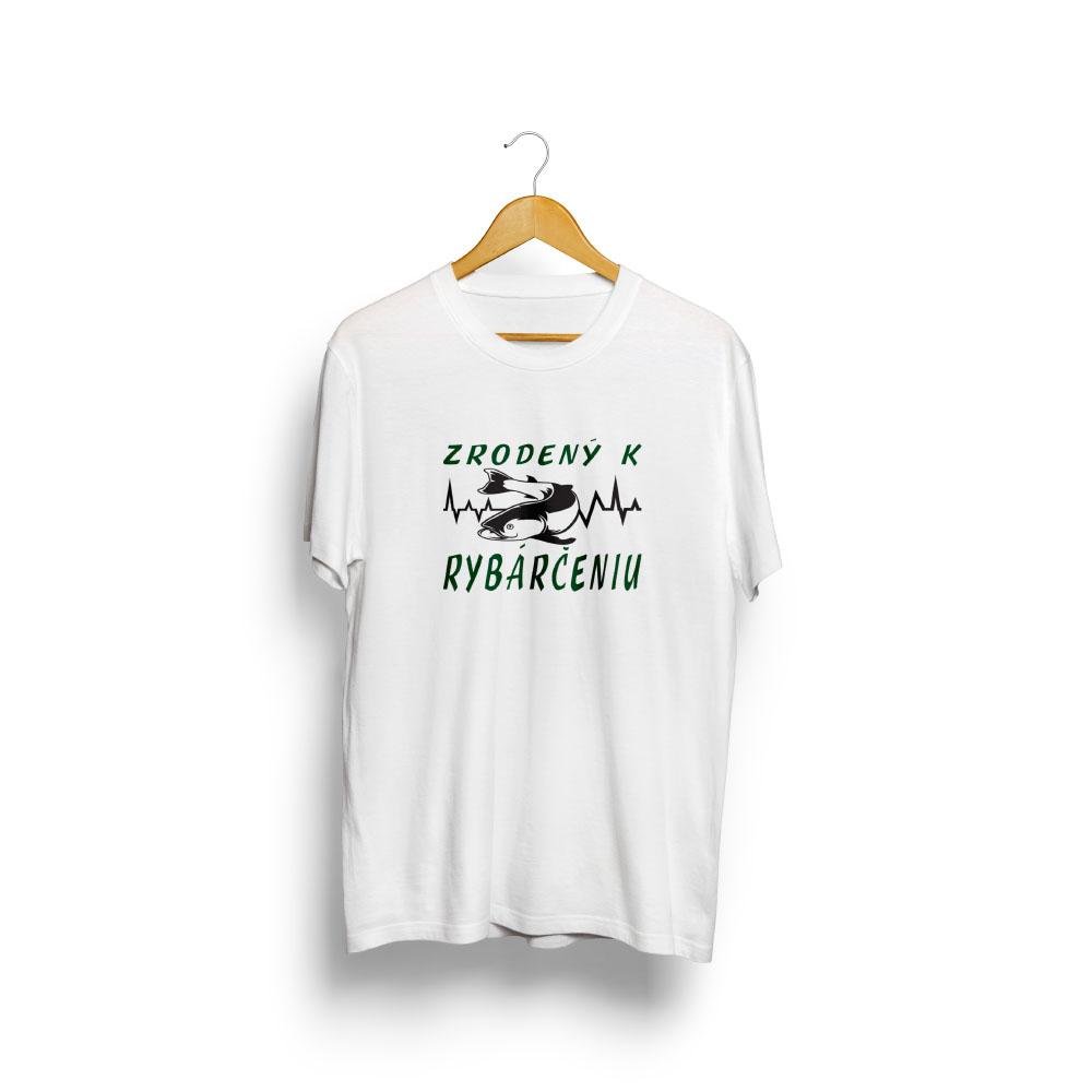 Pánske tričko biele ZRODENÝ K RYBÁRČENIU